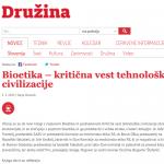 Bioetika – kritična vest tehnološke civilizacije