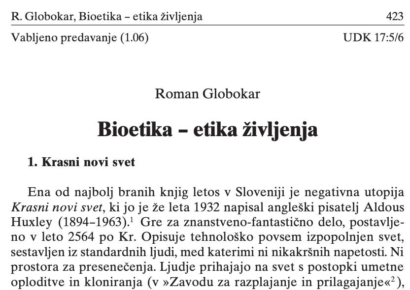 Bioetika – etika življenja