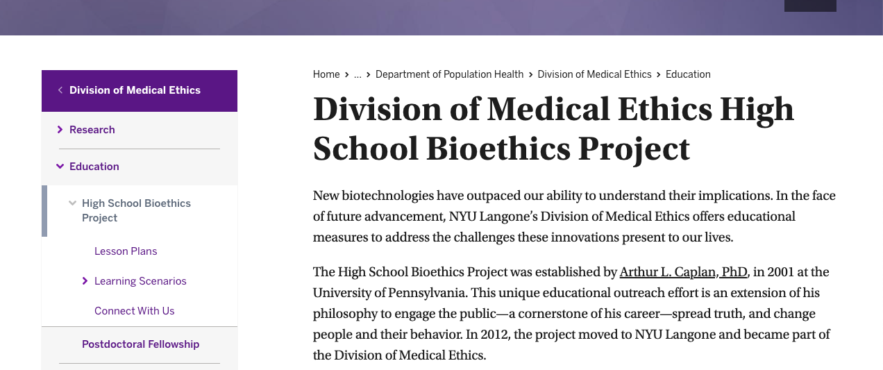 Division of Medical Ethics High School Bioethics Project
